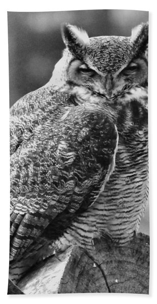 Owl In Black And White Beach Towel