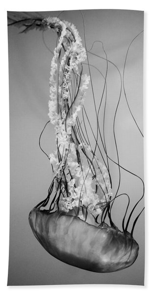 Pacific Sea Nettle - Black And White Beach Towel