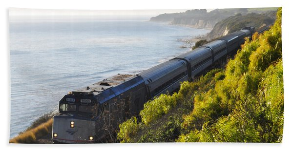 Pacific Surfliner Along The Central Coast Beach Towel