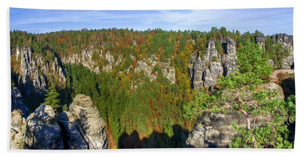 Panoramic View Of The Elbe Sandstone Mountains Beach Towel