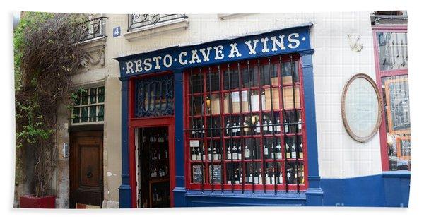 Paris Wine Shop Resto Cave A Vins - Paris Street Architecture Photography Beach Towel