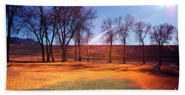Beach Towel featuring the photograph Park In Mcgill Near Ely Nv In The Evening Hours by Gunter Nezhoda