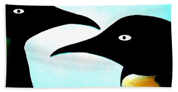 Beach Towel featuring the painting Penquin Love by Colette V Hera  Guggenheim