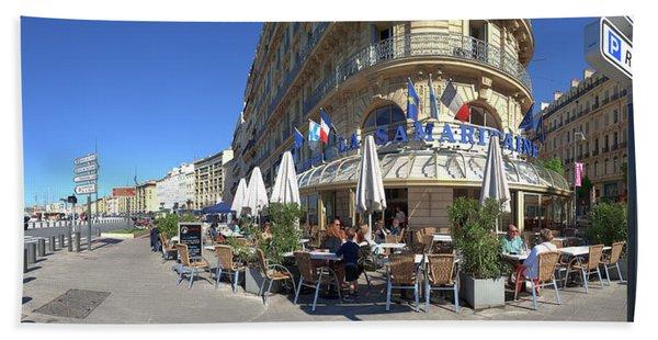 People At Sidewalk Cafe, Marseille Beach Towel