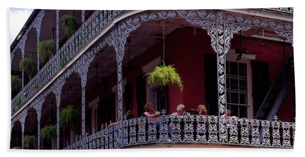 People Sitting In A Balcony, French Beach Towel