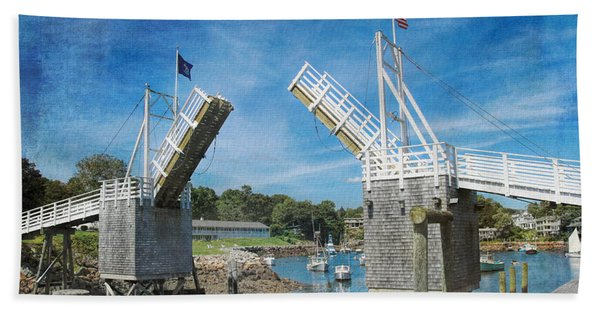 Beach Towel featuring the photograph Perkins Cove Drawbridge Textured by Jemmy Archer