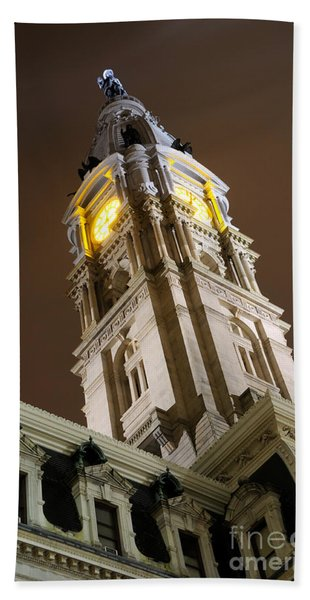 Philadelphia City Hall Clock Tower At Night Beach Towel