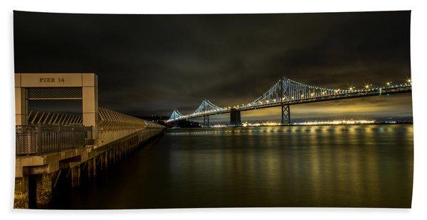 Pier 14 And Bay Bridge At Night Beach Towel