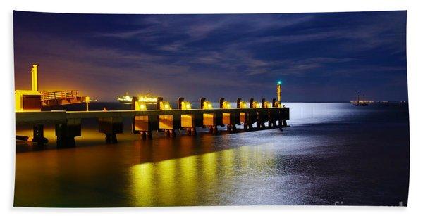Pier At Night Beach Towel
