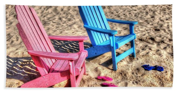 Pink And Blue Beach Chairs With Matching Flip Flops Beach Towel