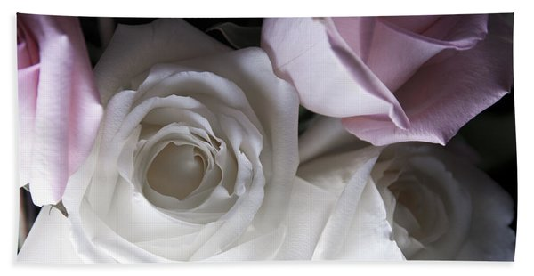 Pink And White Roses Beach Towel