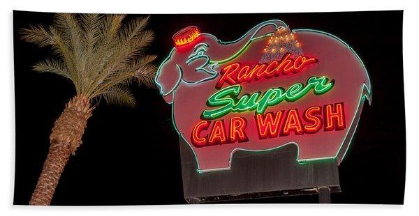Pink Elephant Car Wash 36 X 24 Beach Towel