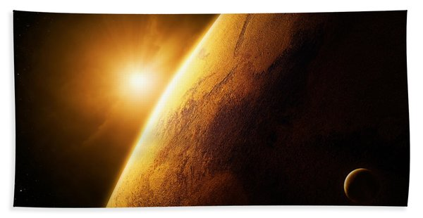 Planet Mars Close-up With Sunrise Beach Towel