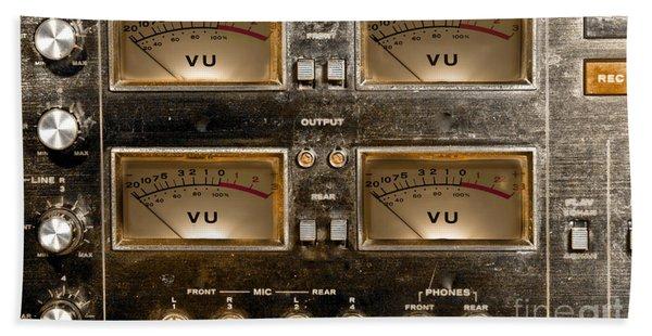 Beach Towel featuring the photograph Playback Recording Vu Meters Grunge by Gunter Nezhoda