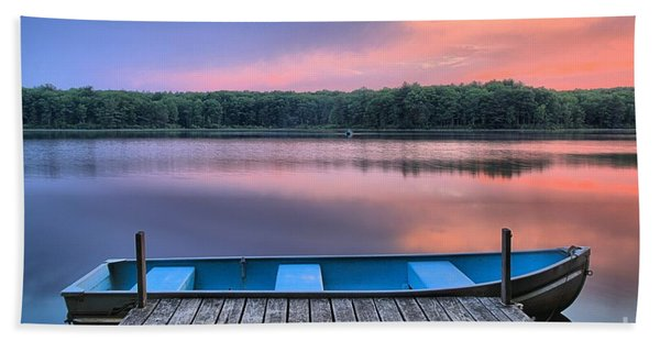 Poconos Lake Whitney Sunset Rowboat Beach Towel