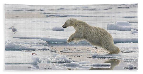 Polar Bear Jumping  Beach Towel