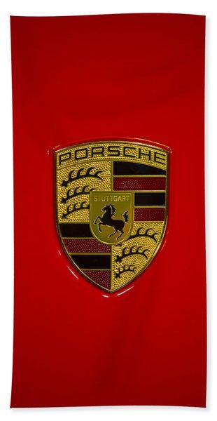 Porsche Emblem Red Hood Beach Towel