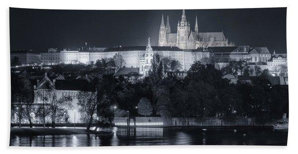 Prague Castle At Night Beach Towel