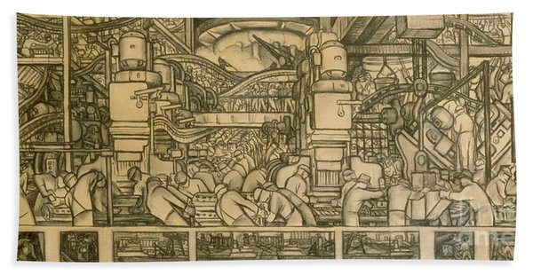 Presentation Drawing Of The Automotive Panel For The North Wall Of The Detroit Industry Mural Beach Towel