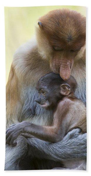 Proboscis Monkey Mother Holding Baby Beach Towel