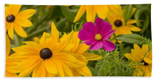 Purple And Yellow Flowers Beach Towel