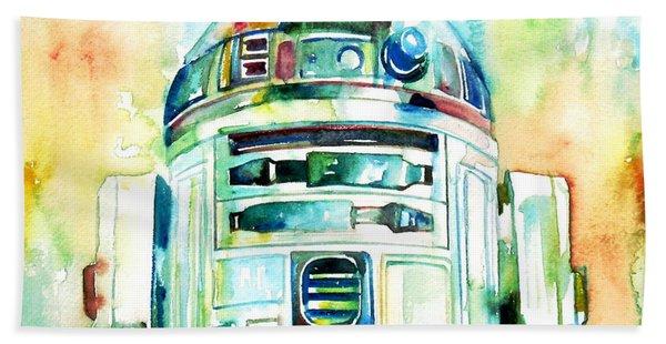 R2-d2 Watercolor Portrait Beach Towel