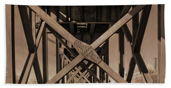 Beach Towel featuring the photograph Railroad Trestle Sepia by Jemmy Archer