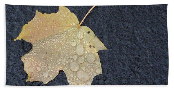 Rain Drops On A Yellow Maple Leaf Beach Towel