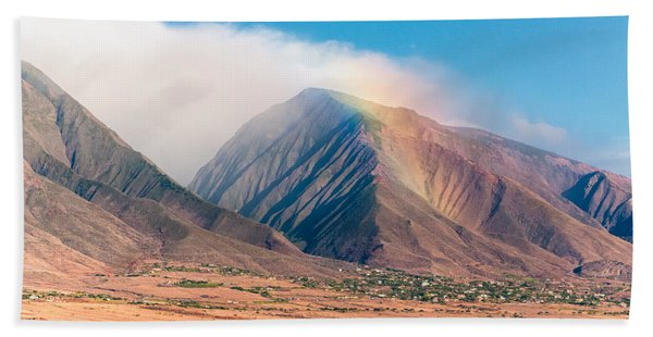 Rainbow Over Maui Mountains   Beach Towel