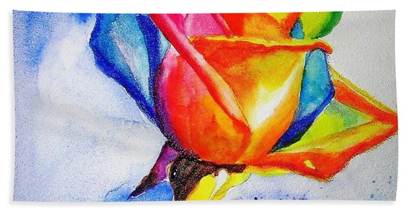 Rainbow Rose Beach Towel