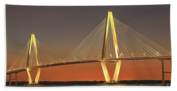 Ravenel Bridge At Dusk Beach Towel