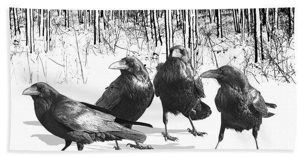 Ravens By The Edge Of The Woods In Winter Beach Sheet