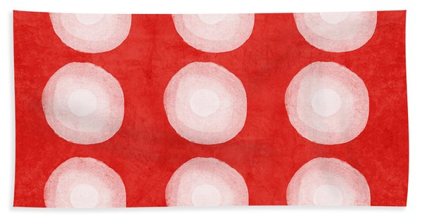 Red And White Shibori Circles Beach Towel