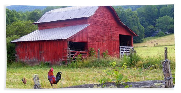 Red Barn And Rooster Beach Sheet