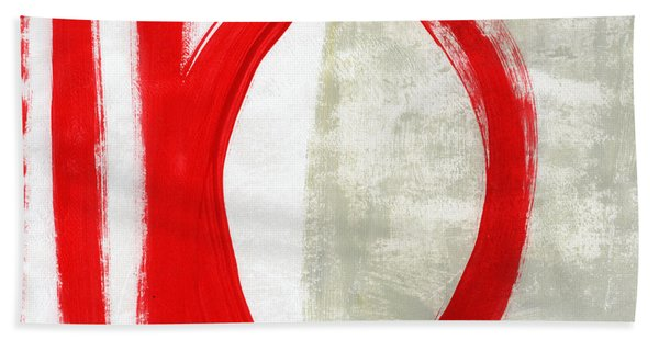 Red Circle 5- Abstract Painting Beach Towel