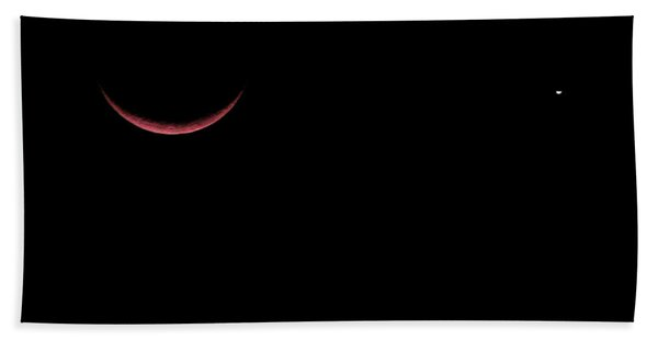 Red Crescent Moon And Venus Beach Towel