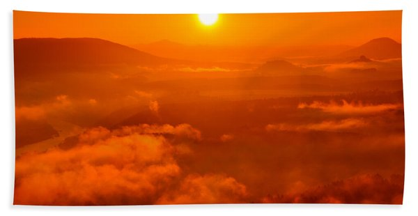 Red Dawn On The Lilienstein Beach Towel
