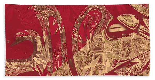 Red Geranium Abstract Beach Towel