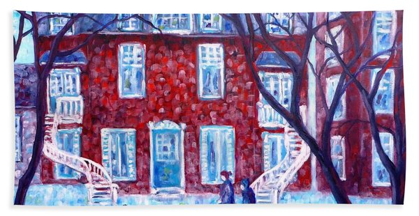 Red House In Montreal - Cityscape Beach Towel