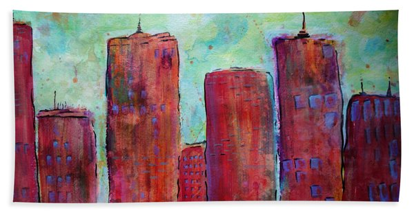Beach Towel featuring the painting Red In The City by Jacqueline Athmann