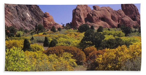 Red Lyons Sandstone Formations & Autumn Beach Towel