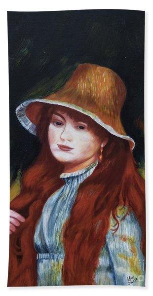 Renoir-young Girl In A Straw Hat Beach Sheet