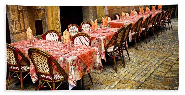 Restaurant Patio In France Beach Towel