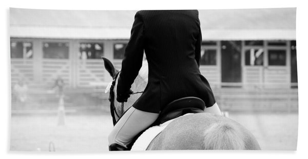 Rider In Black And White Beach Towel