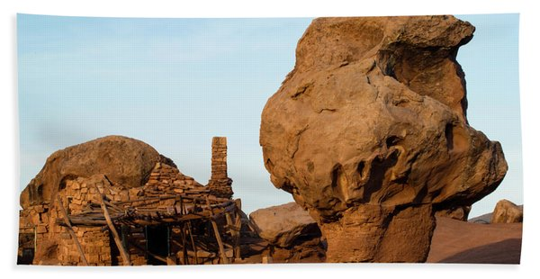 Rock Formations And Abandoned Building Beach Towel