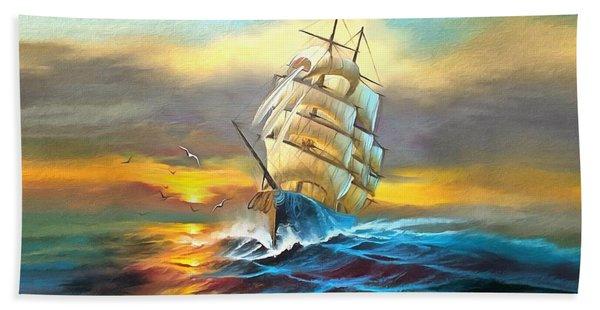 Sail Boat Full Sails Beach Sheet