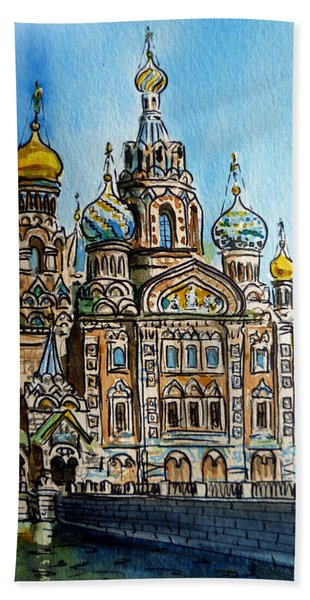 Saint Petersburg Russia The Church Of Our Savior On The Spilled Blood Beach Towel