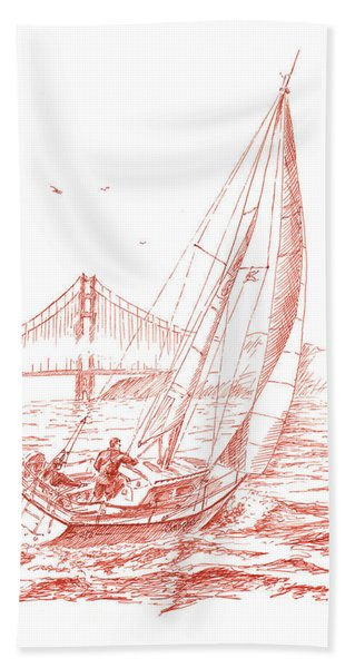 San Francisco Bay Sailing To Golden Gate Bridge Beach Towel