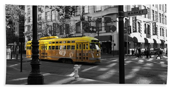 San Francisco Vintage Streetcar On Market Street - 5d19798 - Black And White And Yellow Beach Towel