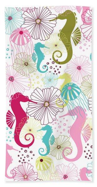 Seahorse Flora Beach Towel